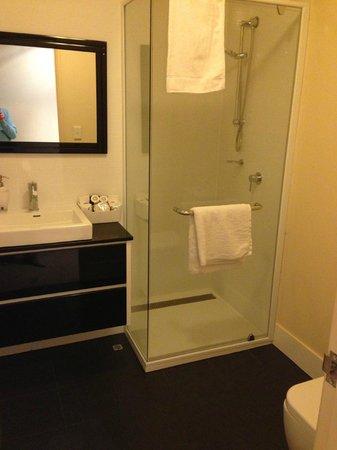 Luxe Spa on Kensington Boutique Suites: compact but clean bathroom.