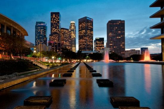 Los Angeles, CA: Downtown Skyline from the John Ferraro Building, courtesy of Frank Hsu