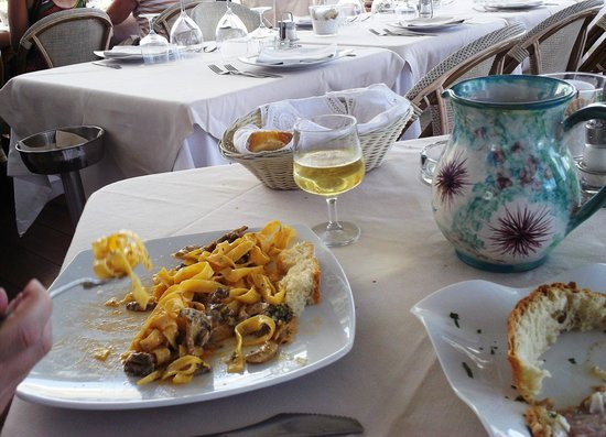 L'Approdo Restaurant: Delicious fettucine alfredo (reddish sauce with mushrooms)