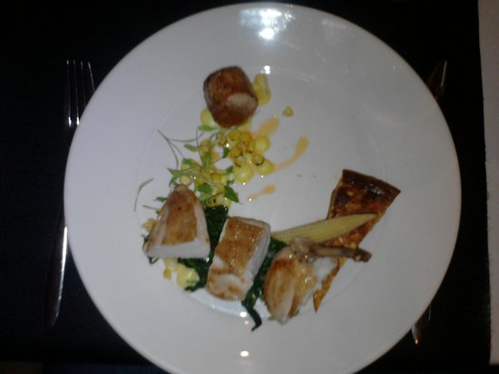The Boat House Restaurant: Pan seared free range chicken breast, chicken leg stuffed with Irish chorizo...