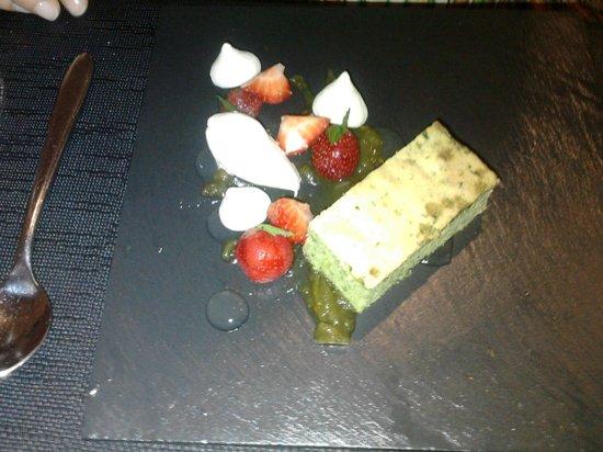 The Boat House Restaurant: Basil sponge cake, macerated strawberries, clotted cream...