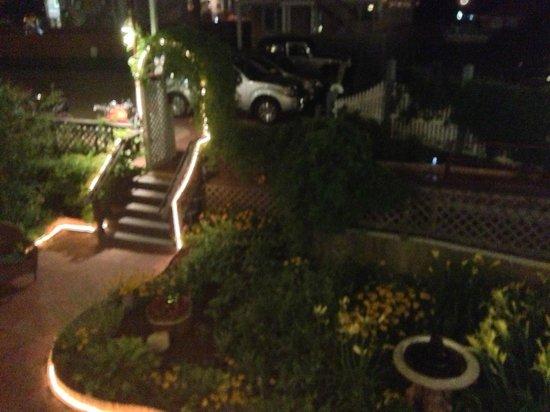 Martha's Vineyard Surfside Motel: night time view of gardens