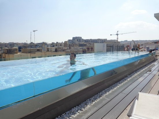 The Small But Beautiful Swimming Pool On The Roof Picture Of Hotel Valentina Saint Julian S Tripadvisor