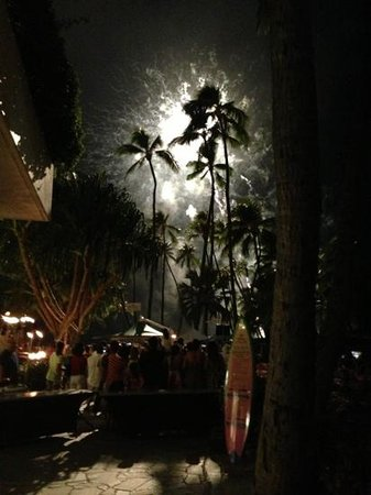 Friday Night Fireworks at Hilton Hawaiian Village Waikiki Beach Resort: aftermath of a firework. beautiful.