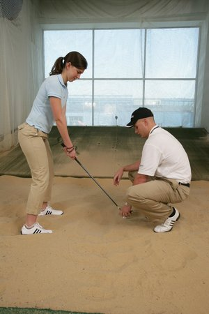 Chelsea Piers Golf Club: The Golf Academy's practice sand bunkers are fully equipped to help you improve your game.