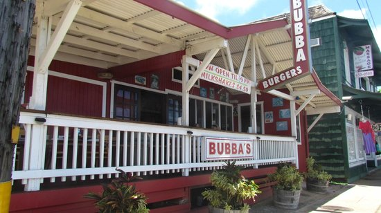 Bubba's: We ate on the porch enjoying the people and ocean across the street