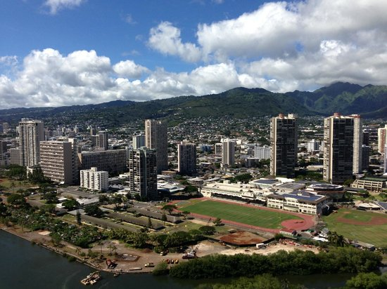 Aqua Skyline at Island Colony: view from hotel of volcanic ridge