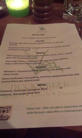 Duck Creek: Wellington on a Plate menu
