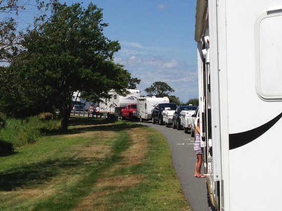 Salisbury Beach State Reservation Campground: Line of campers waiting their turn to check in