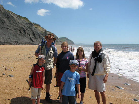 Charmouth, UK : Chris Pamplin with family on a walk