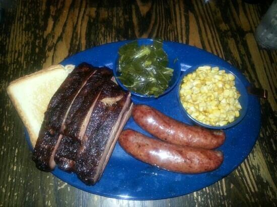 Mojo Bar-B-Que: Ribs, sausage, smoked corn and mustard greens