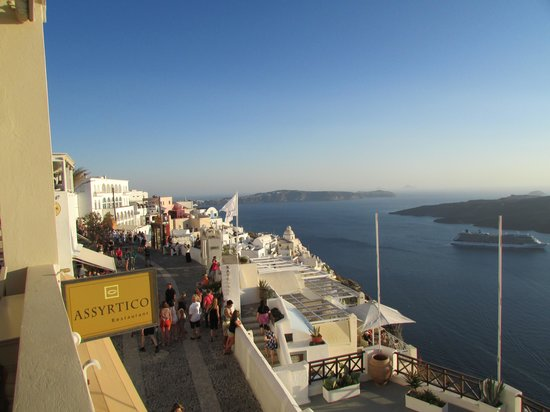 View of Fira and Caldera from Assyrtico Balcony