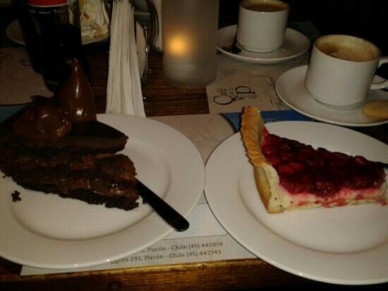 Cafe de la P: torta de chocolate com doce de leite e torta de framboesa