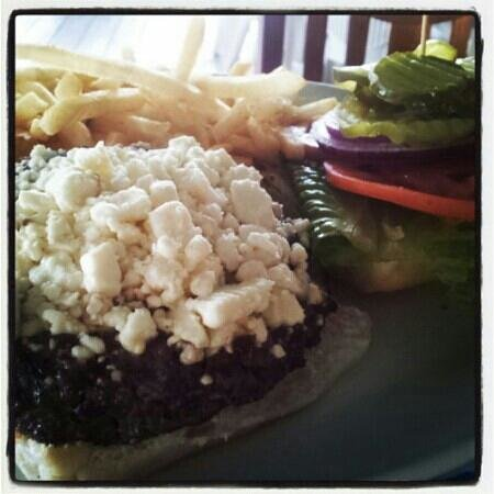 Snappas Chill and Grill: Angus beef feta burger and fries
