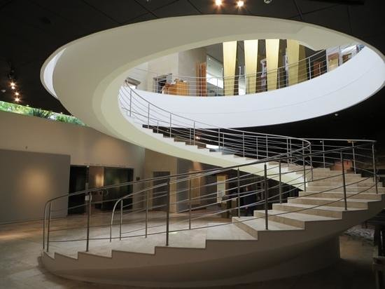 South African Jewish Museum: spiral staircase to lower exhibition floor