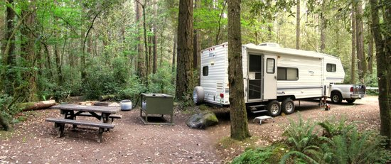 Jedediah Smith Redwoods State Park : Jedediah Smith State Park campground site panorama (photo stitched)