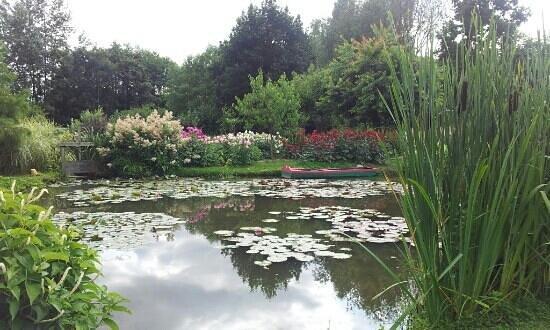 Jardin du peintre Andre van Beek : Vue reposante depuis un banc