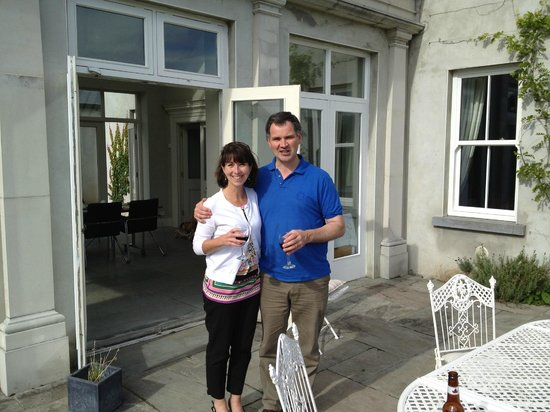 Coolefield House: Michael Thornton and I enjoying a glass of wine on a beautiful Irish day.