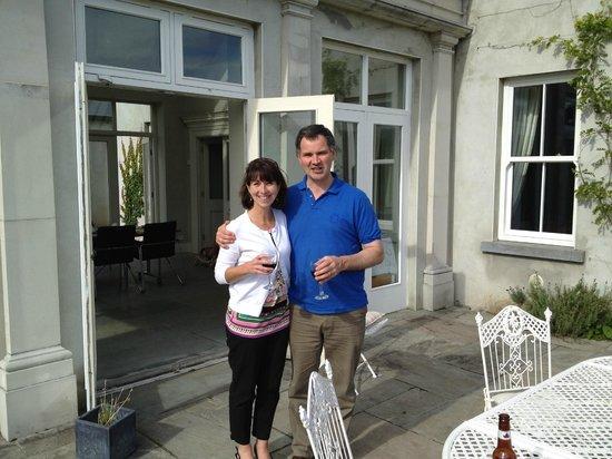 Coolefield House: Michael Thornton and I enjoying a glass of wine on a beautiful Irish day.