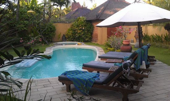 Dyana Villas: view from our bedroom of the pool and gardens