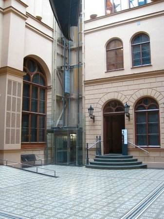 Art Museum RIGA BOURSE: Entrance Hall of museum, with elevator