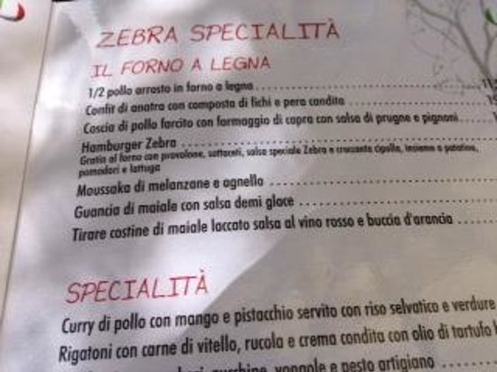 Zebra Steak & Grill : il menù