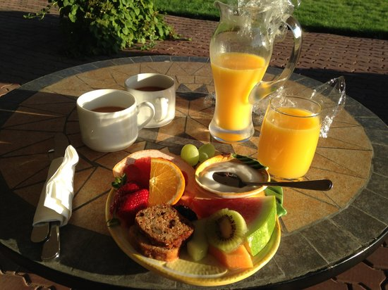 Riverside Bed & Breakfast : Fruit breakfast in the sundhine