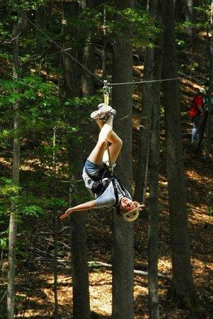 Zipline Adventure at Boyne Mountain: Finally got flipped upside down!