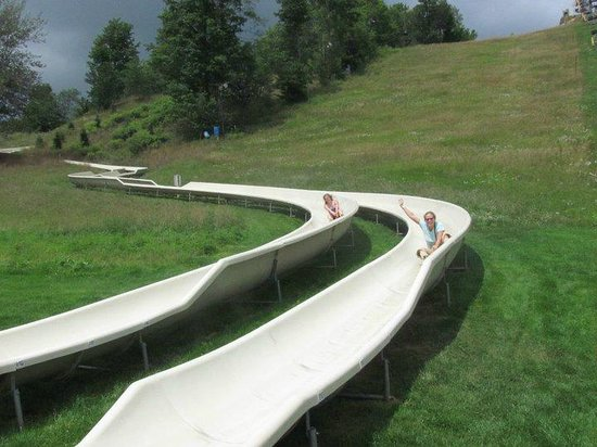 Thompsonville, MI: coming down the Alpine Slide at Crystal Mountain