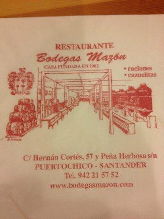 Restaurante Bodegas Mazon : Tovagliolo struttura