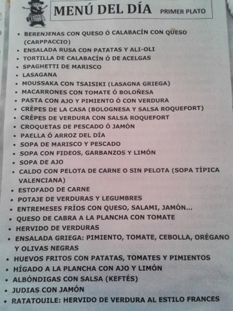 Restaurante Jaen: This is just the list of starters...