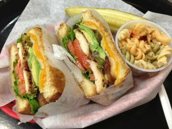 House of Bagels Central Coast: California Panini with fresh pasta salad and barrel pickle
