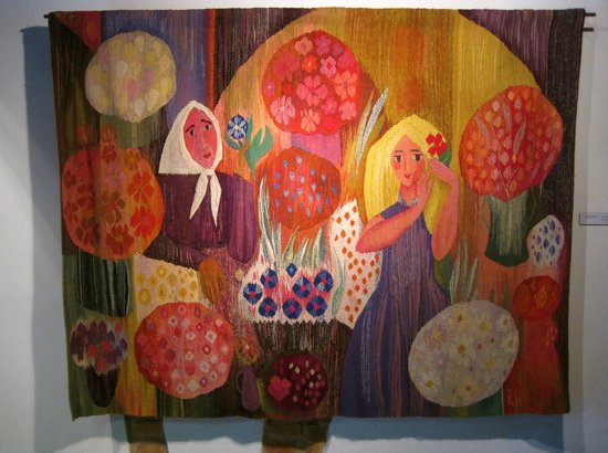 Museum of Decorative Art and Design: Woven wool tapestry, 'The Women Vendors' (1967)