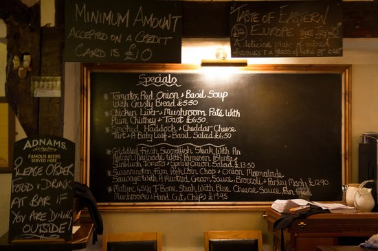 The Gamekeeper: A board with the specials of the day