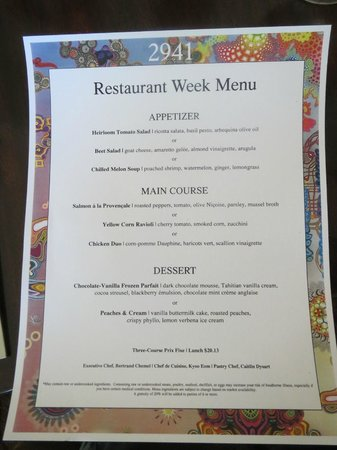 Restaurant week lunch menu picture of 2941 restaurant for 010 cuisine weekmenu