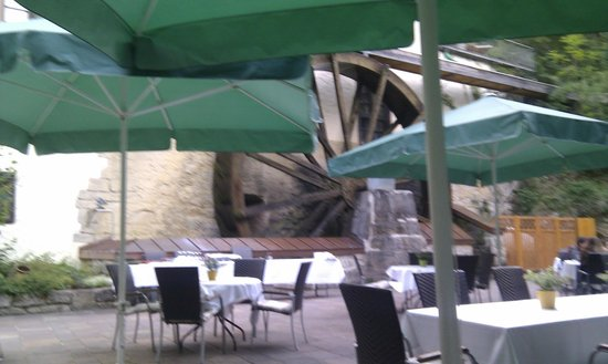 Hotel Bibermühle: The Mill Wheel outside the restaurant