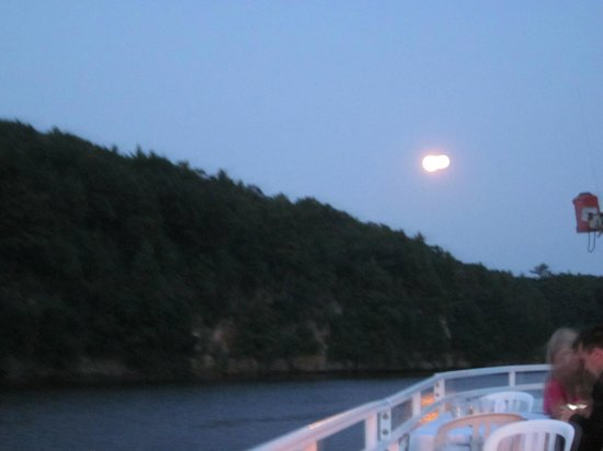 Dells Boat Tours: A beautiful Moon Rise on our way back to the landing!