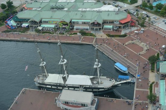 Top of the World Observation Level: View of the USS Constellation from the observation deck