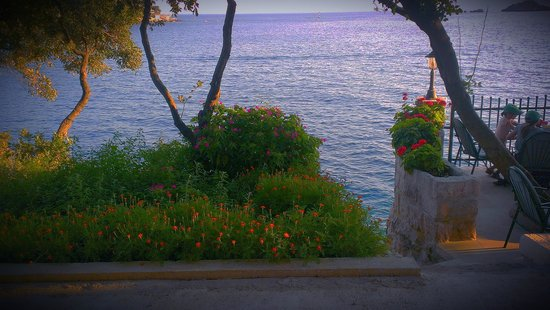Restaurant Levanat: Their garden and steps down onto the rocks