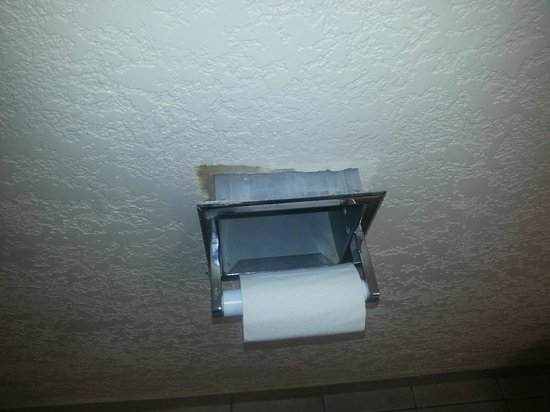TP Hotel: Toilet paper holder falling out of the wall