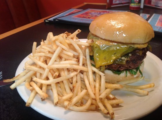 15 Quince Grill & Cantina: A slab of Hatch green chile on a 1/2 pound of fresh ground beef!