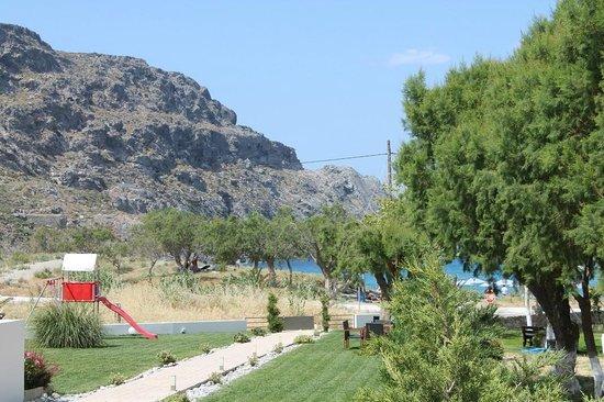 Plakias Suites' garden & view towards the beach