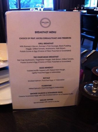 Dalziel Park Hotel & Golf Club : breakfast menu