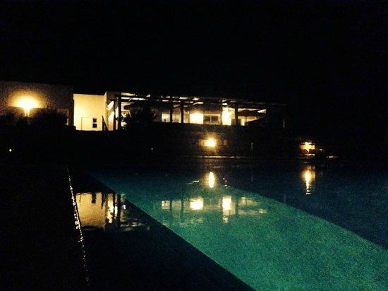 Guesthouse Quinta Saleiro : Piscina e edificio à noite.