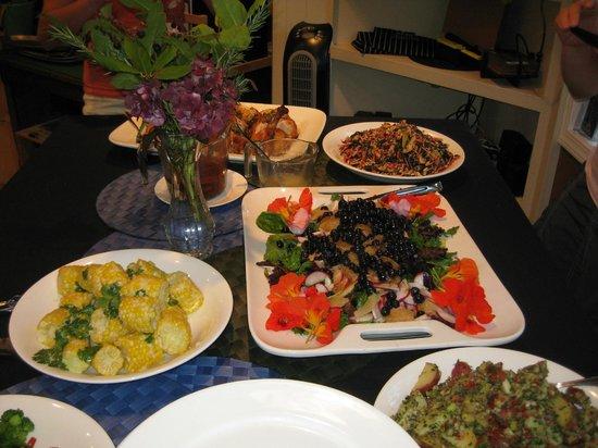 EVOO Cannon Beach Cooking School: Part of the Market Dinner Buffet.