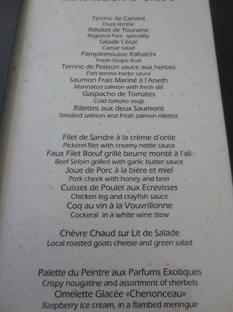 Restaurant L Orangerie Chenonceau Menu