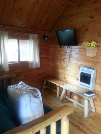 Watkins Glen-Corning KOA Camping Resort: Living area with futon, heater and flat screen tv