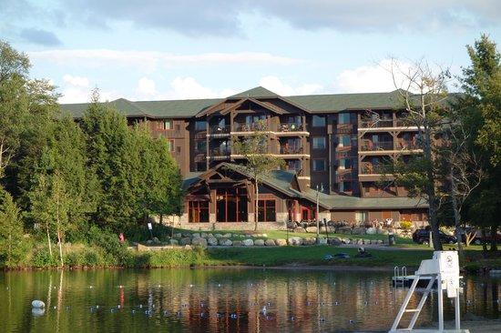 Hampton Inn Suites Lake Placid Back Of Hotel Facing Mirror