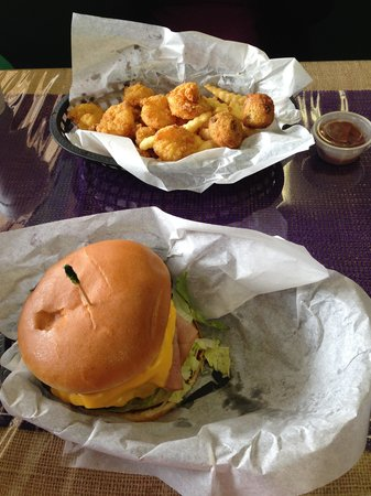 Boudreaux's Cajun Trio: Bubba Burger and the Fried Seafood Trio