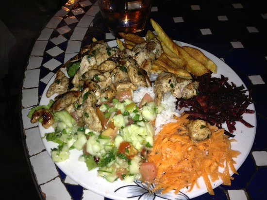 Thami's : Chicken skewer, fries, beets, rice, carrots, salad